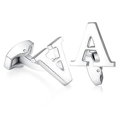 Hanana inicial alfabeto letra Gemelos para hombres camisa, Plata Acero Inoxidable, ideal para negocio boda regalo de Navidad