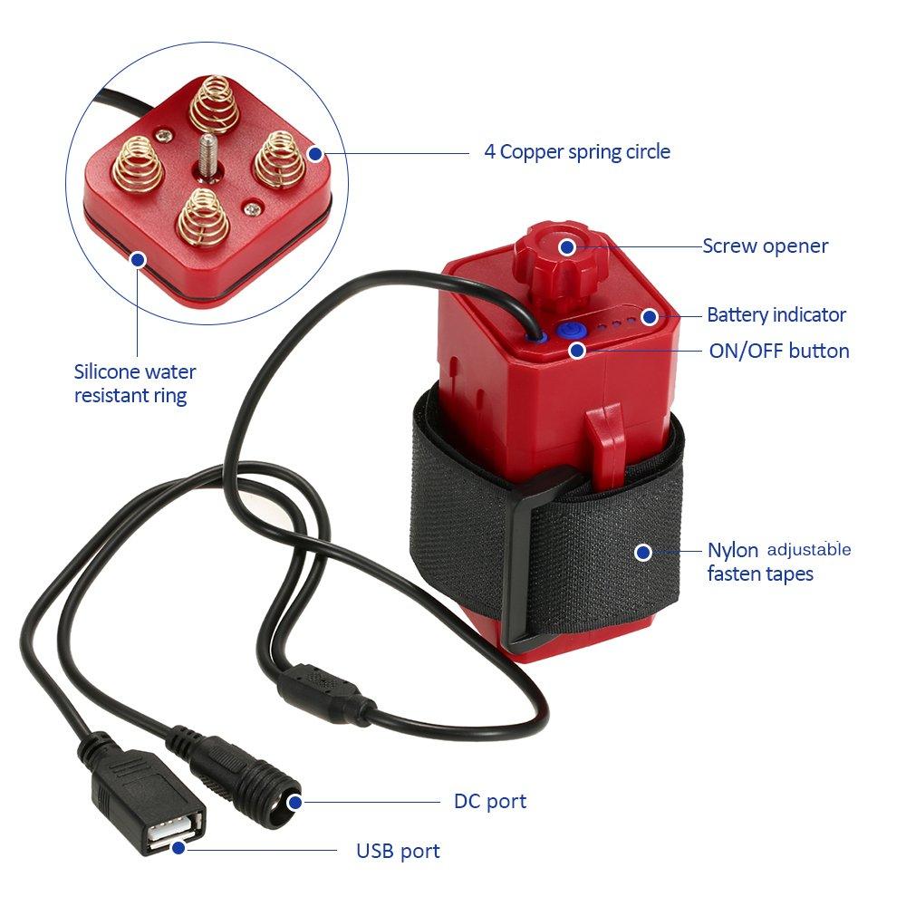 Lixada Wasserdicht Batterie Pack Fall Haus Abdeckung f/ür Fahrrad Lampe//Notfall Telefon Ladeger/ät. Keine Batterie