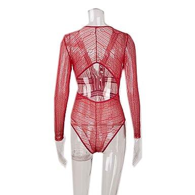 bdb9ce60723 Minzhi Women Deep-V Neck Lace Mesh Crochet Bodysuit Slim Fit Romper  Jumpsuit Sexy High Street Bodysuits Clothing  Amazon.co.uk  Clothing