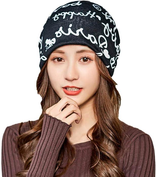 Lmtime Pregnant Womans  Autumn Winter Warm Hat Letter Printed Collar Caps  Moon Cap(Black 783520ef09aa