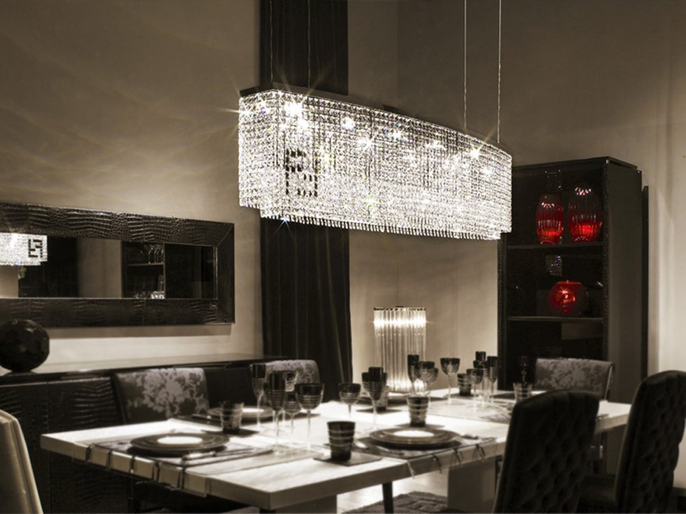 7PM L47'' x W11'' x H16'' Modern Contemporary Luxury Linear Island Dining Room Crystal Chandelier Lighting Fixture