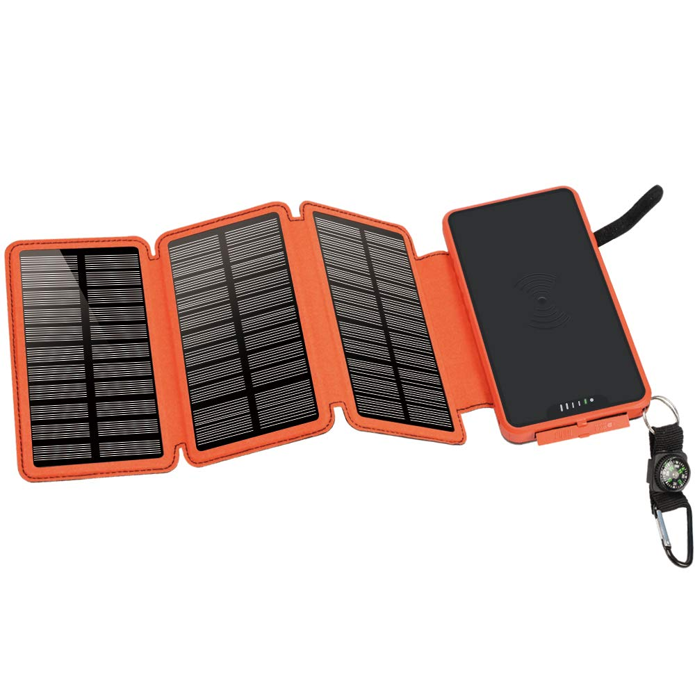 soyond Solar Qi Power Bank Solar Wireless Phone Charger Protable Qi Battery Pack 20000mAh Waterproof with Dual Ports for iPhone, Andriod Phone, iPad(Orange Wireless Charger) by soyond (Image #7)