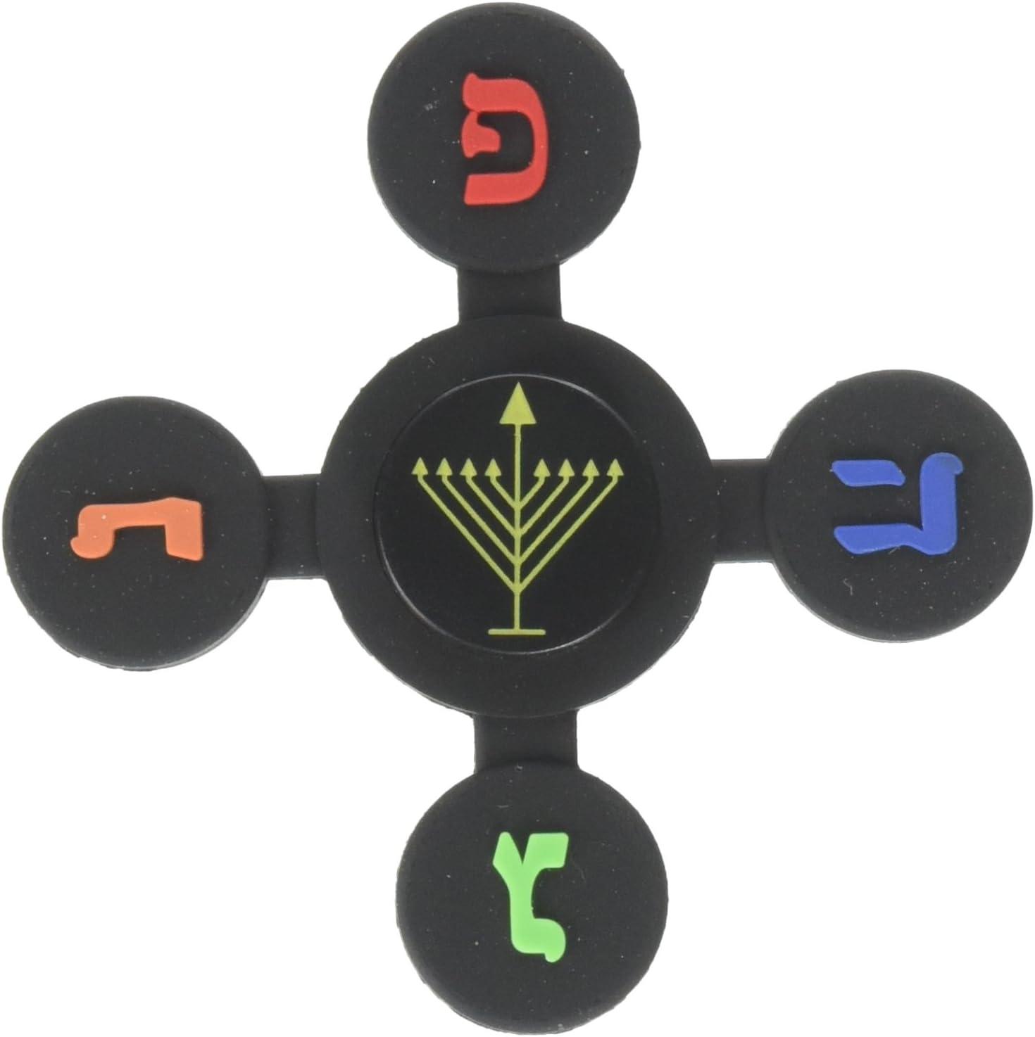 Judaica Mega Mall Chanukkah Dreidel Toy Dreidel Spinner Game Black