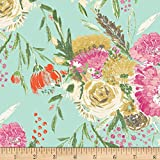 Art Gallery Fabrics Wild Bloom Jersey Knit Summer Bouquet Clear Fabric by the Yard, Mint