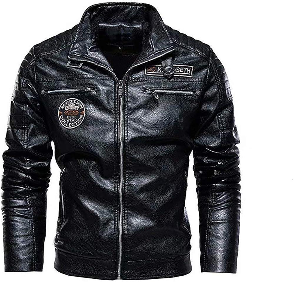 XFei Herren Casual Motorrad Kunstleder Jacke Cafe Racer Jacke Slim Fit Vintage Stehkragen Motorrad Biker Leder schwarz Jacke Mantel f/ür M/änner
