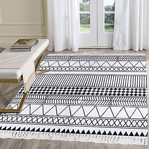 HEBE Large Cotton Rugs 4' x 6' Machine Washable Black and White Geometric Cotton Area Rug with Tassels Hand Woven Cotton Rug for Living Room, Laundry Room, Entryway or Throw Blankets for Sofa (Black Rug 4 X 6)