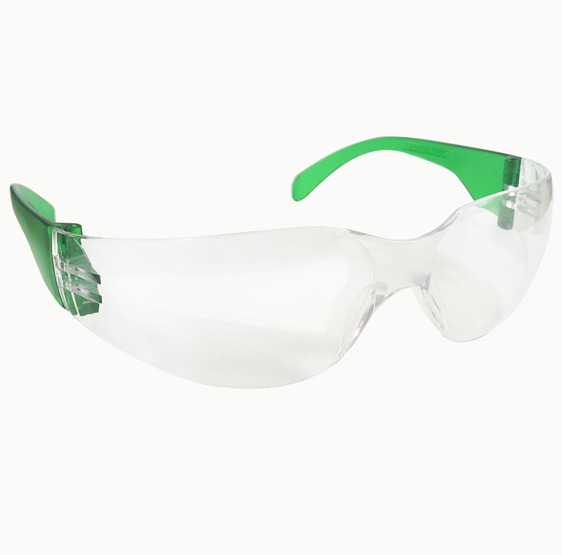 SAFE HANDLER Protective Safety Glasses, Clear Polycarbonate Impact and Ballistic Resistant Lens - Green Temple (Case of 12 Boxes, 144 Pairs Total) by Safe Handler (Image #2)