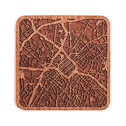 Charlotte, NC Map Coaster by O3 Design Studio, One piece, Sapele Wooden Coaster with city map, Multiple city optional, - Center Charlotte Town