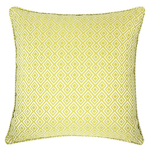Green Woven Fabric - Homey Cozy Jacquard Cotton Throw Pillow Cover,Lime Green Diamond Modern Silk Plaid Textured Sofa Couch Decorative Pillow Case 20x20,Cover Only