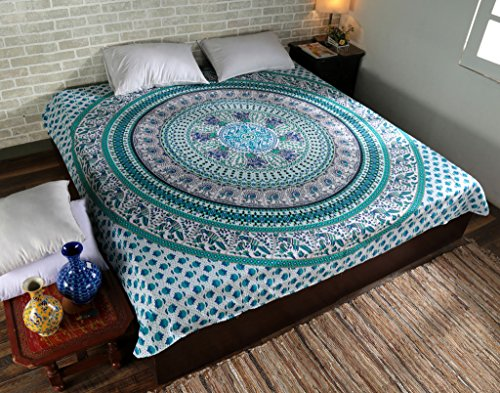 Handmade in India Indian Tapestry Mandala Bohemian Hippie Wall Hanging Bedspread Dorm Throw Q8