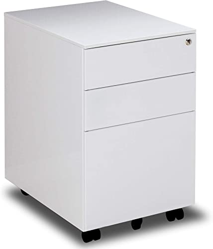 3 Drawer Mobile File Cabinet Metal Locking File Cabinet with Key Fully Assembled Except Wheels White