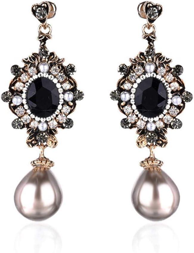 XAFXAL Pendientes de Mujer Moda Blanco Perla De Imitación Piedra Ópalo Negro con Incrustaciones De Metal Antiguos Aretes Colgantes Navideños De Oro