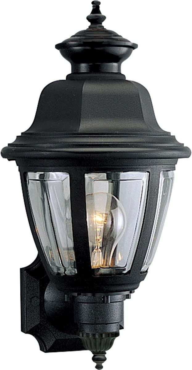 Progress Lighting P5737-31 Traditional One Light Wall Lantern from Non-Metallic Incandescent Collection in Black Finish, 8-Inch Width x 16-Inch Height