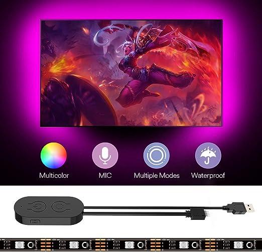 Tira LED TV 2M, Lumary 5050 Tiras LED USB, Micrófono de ...