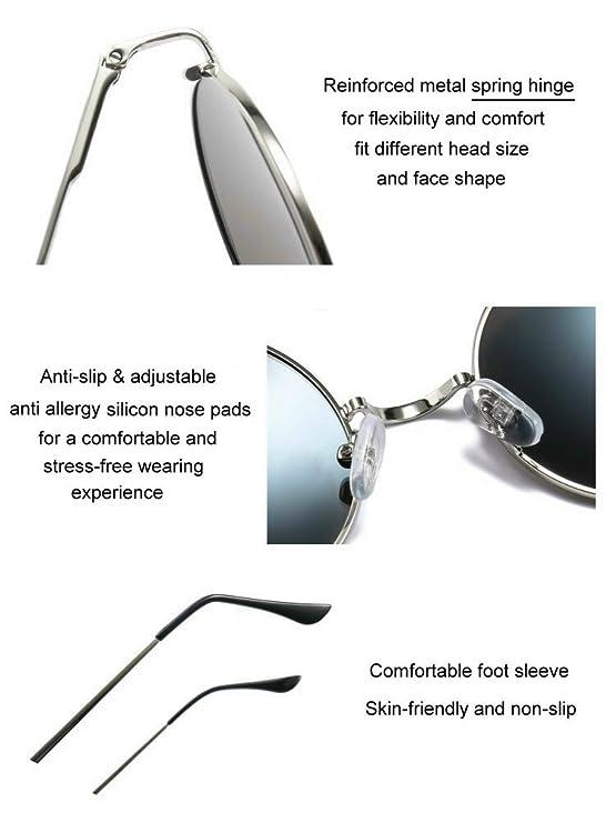e12139d316f Amazon.com  MRODM Mirror Blue Circle Round Retro Hippie Polarized Sunglasses  for Women - Metal Frame Spring Hinged  Clothing
