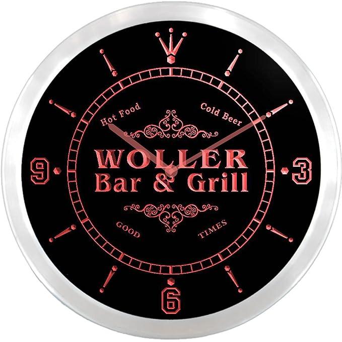 ncu48922-r WOLLER apellido Bar y parrilla cerveza fría de neón LED ...