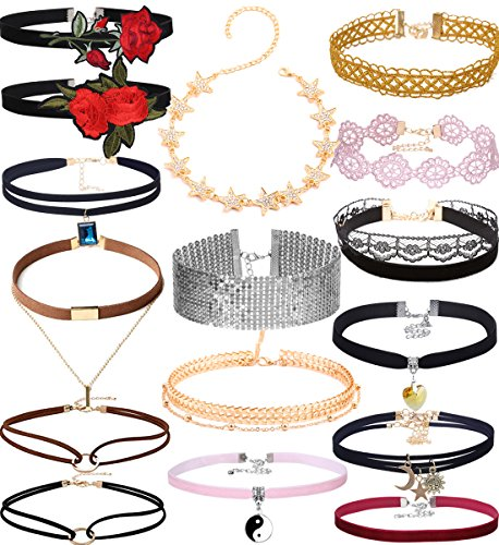 Tpocean 16pcs Colorful Velvet Tattoo Lace Flower DIY Choker Necklaces with Charms Crystal Rhinestone Necklace Set for Women Girls (Choker Set Flower Necklace)