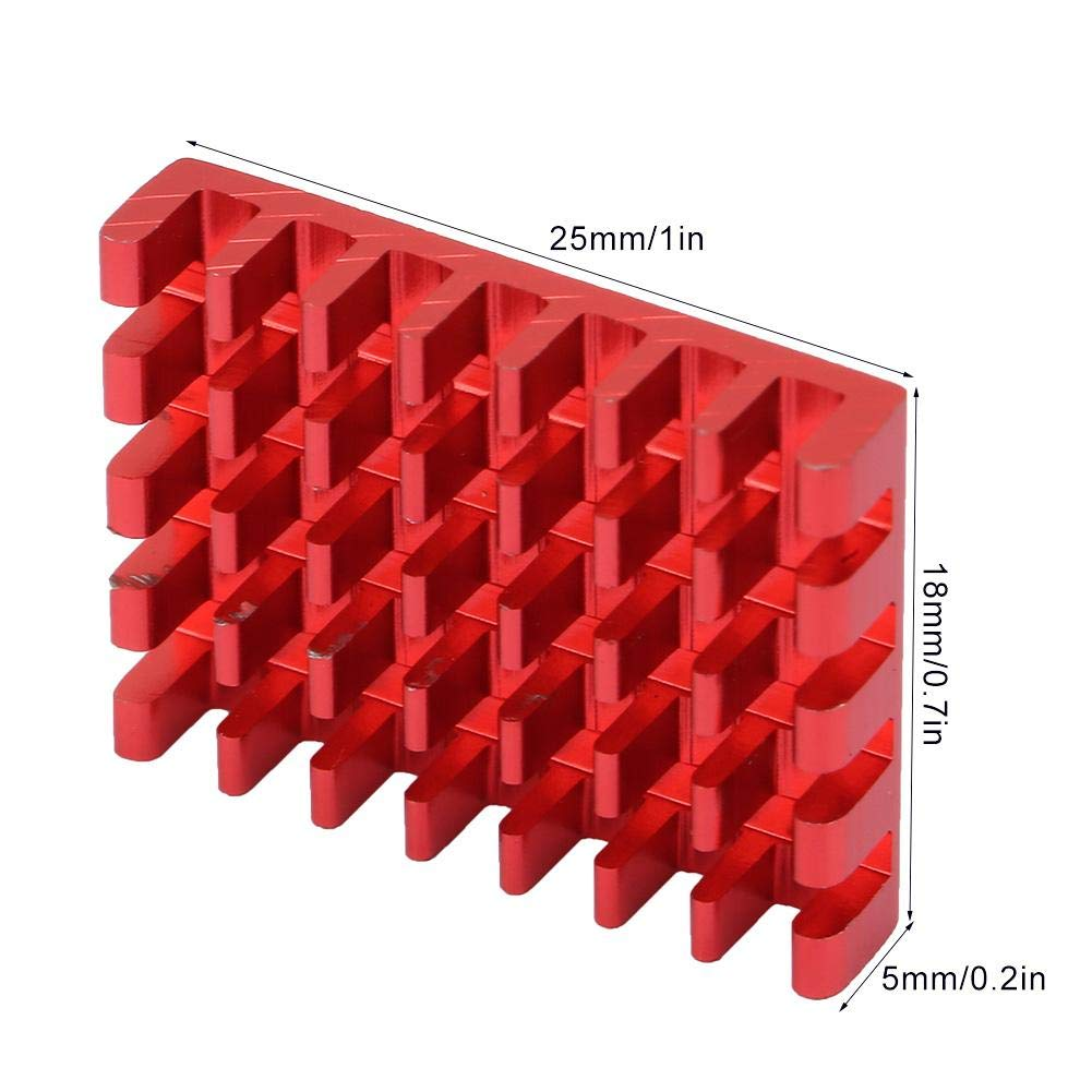 Red 10PCS Aluminum Heatsink Cooling Fin 25/×18/×5mm Circuit Board Cooling Fin HeatSink Cooler Chip Heat Sink for ESC Transimitters RC Drone