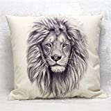 "Mighty Lion Flax Home Office Sofa Cushion By Pillowcase Lion, 16"" x 16"""