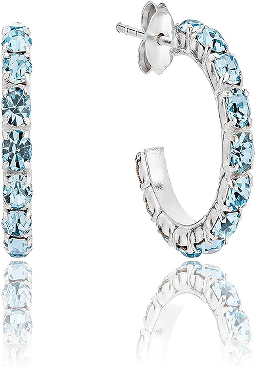 DTPsilver–Pendientes para mujer Demi aro de plata fina 925con cristales de Swarovski Elements–Color aguamarina–Cierre clavo