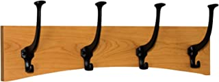 product image for PegandRail Solid Cherry Wall Coat Rack Curved Design Black Mission Hooks Made in The USA (Cherry Stain, 20 x 6.5-4 Hooks)