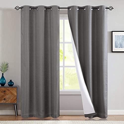 jinchan Grey Blackout Curtains Lined Thermal Drapes 84 Grey Long Block Up to 100 of Light Panel for Bedroom Window Treatments Grommet Top 2 Panels