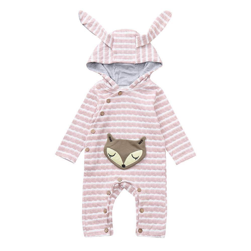 Weiyun Toddler Baby Girls Boys Cartoon Fox Striped Ear Hooded Romper Jumpsuit Outfits