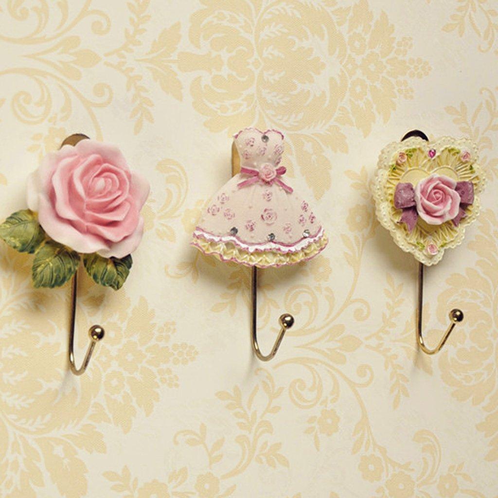 2 x Lovely Resin Coat Hat Robe Towel Hook Hanger Wall Mounted Rose Flower Generic
