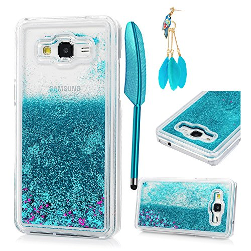 MOLLYCOOCLE Grand Prime Case,Bling Glitter Powder Transparent Clear PC Hard Plastic Shell Quicksand and Cute Star Flowing Liquid Cover for Samsung Galaxy Grand Prime G5308/G530H - Light (Hybrid Grande)
