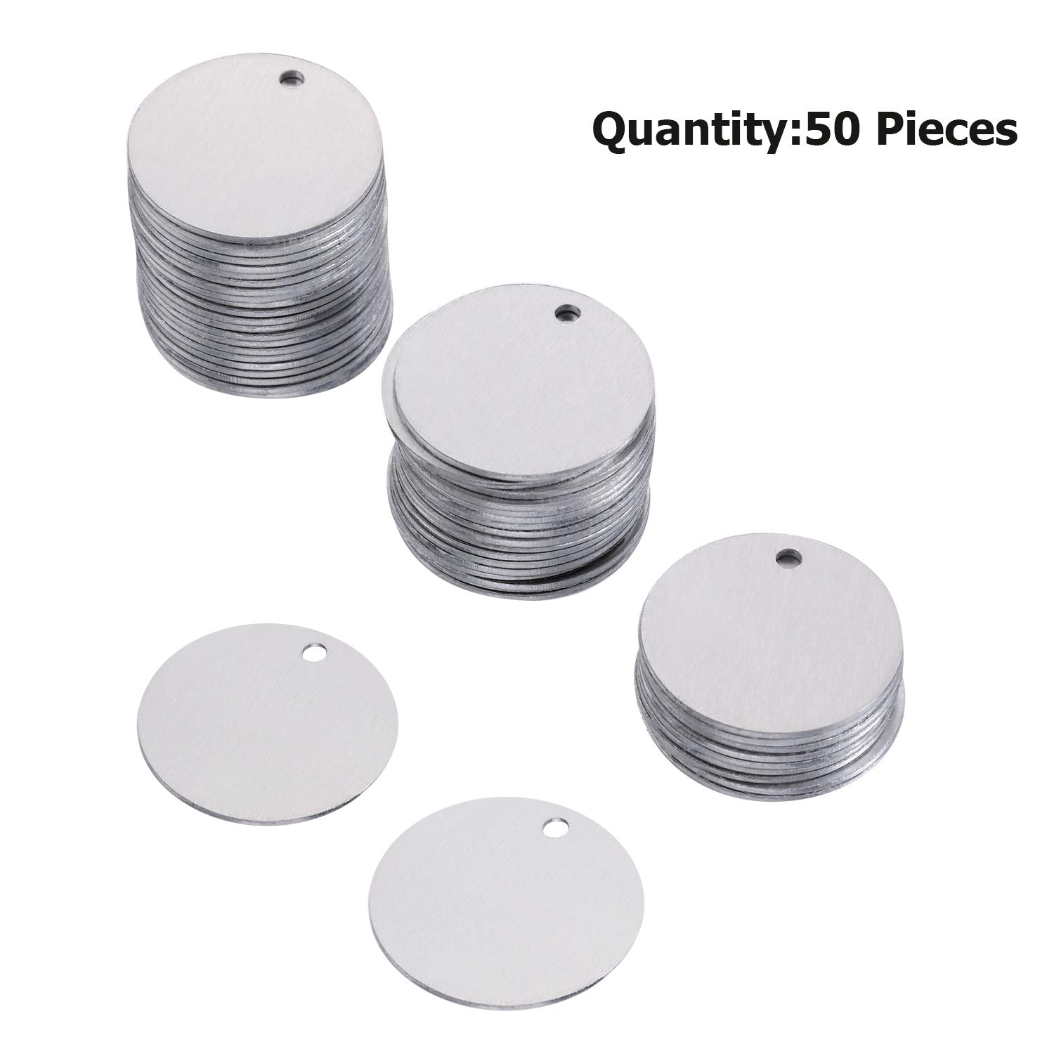 SATINIOR 50 Pieces Stamping Blank Tags 1 Inch Round with Hole Aluminum Blanks Tags