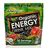 Organic Energy Drink Mix - Vegan & Non GMO Superfood Powder Supplement With Matcha Green Tea, Yerba Mate, Cacao, Goji Berry, Pomegranate, Maqui Berry - 25 mg of Natural Caffeine Per Serving