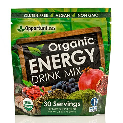 Organic Energy Drink Mix   Vegan   Non Gmo Superfood Powder Supplement With Matcha Green Tea  Yerba Mate  Cacao  Goji Berry  Pomegranate  Maqui Berry   25 Mg Of Natural Caffeine Per Serving