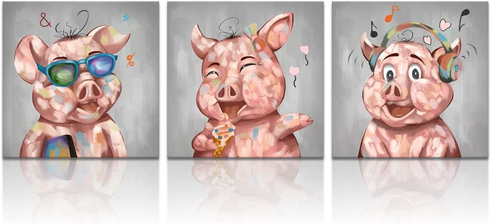 """Visual Art Decor Animals Painting Funny Eating Ice Cream Pig Glasses Piggy and Listen Music Pig Picture Canvas Prints Gallery Wrap Modern Artwork for Living Room Bedroom Decoration (12""""x12""""x3)"""