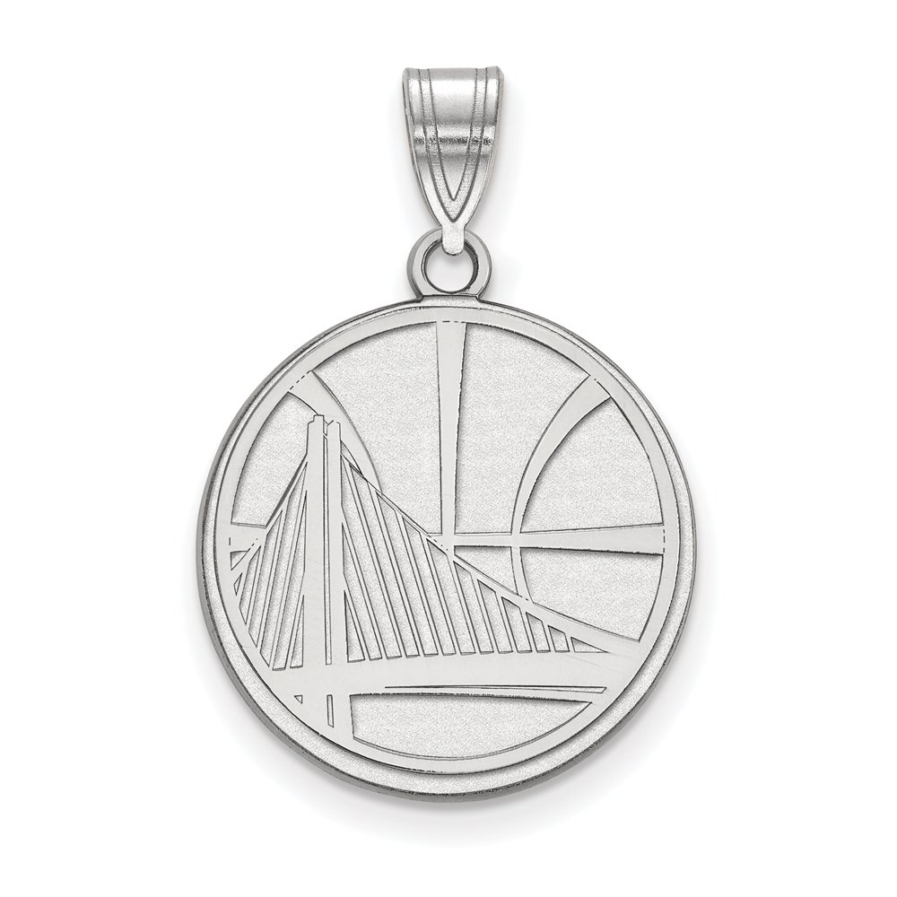 NBA Golden State Warriors Large Logo Pendant in Rhodium Plated Sterling Silver