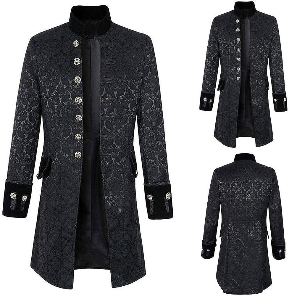 Zolimx Vintage Herren-Mantel Print Langarm Frack Stehkragen Mode Smoking Jacke Gothic Gehrock Uniform Kost/üm Praty Trenchcoat Windbreaker Steampunk Graben Outwear
