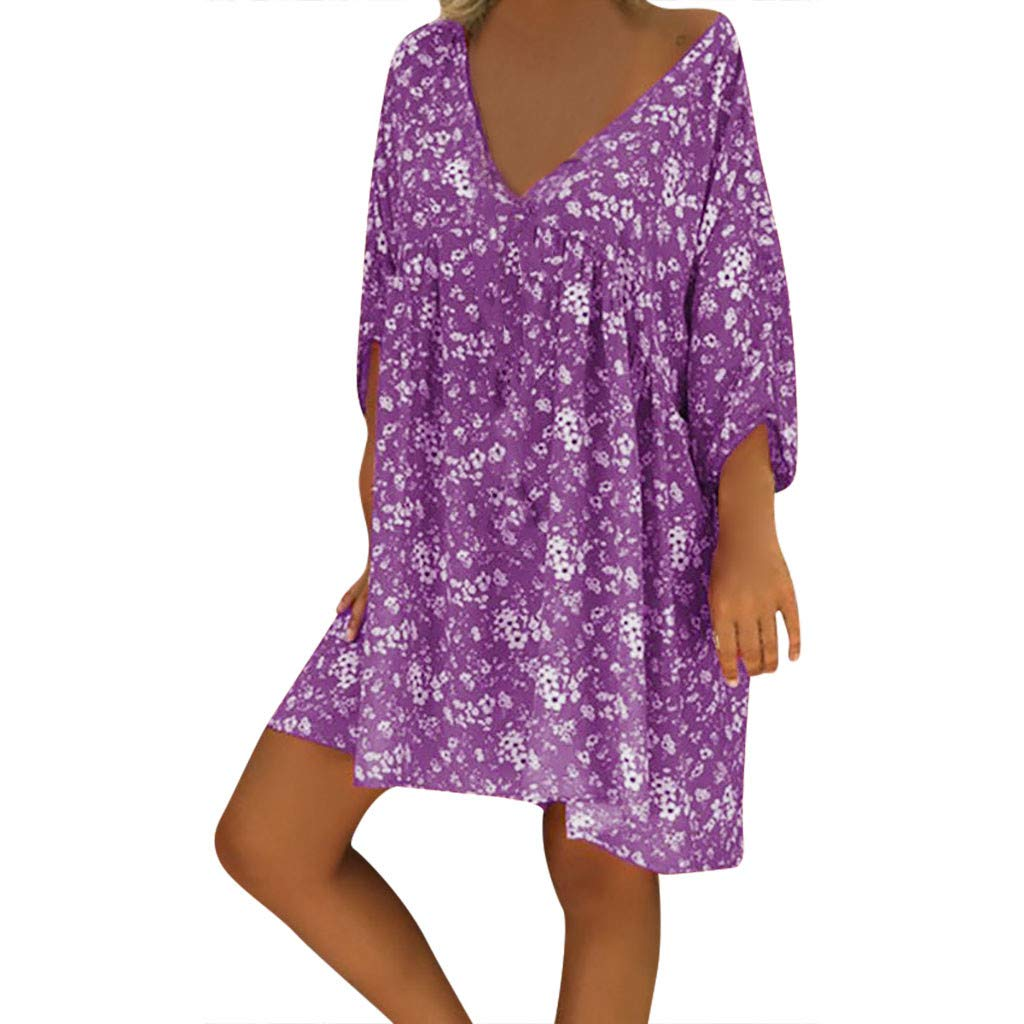 Forthery-Women T Shirt Dress Plus Size Floral Boho Summer Beach Swing Dress Sundress(Purple,Small)