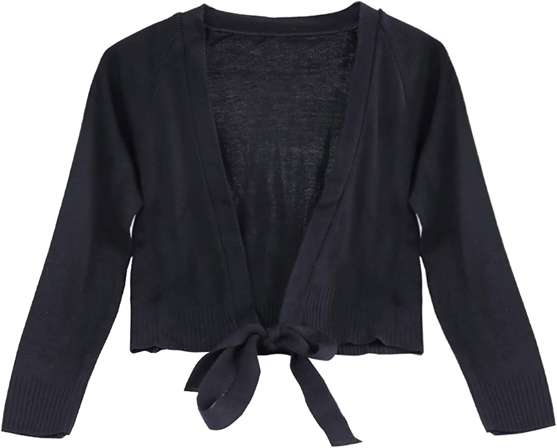 Doomiva Kids Girls Classic Ballet Wrap Top with Thumb Hole Knit Sweater Winter Warm Long Sleeves Dance Cardigan