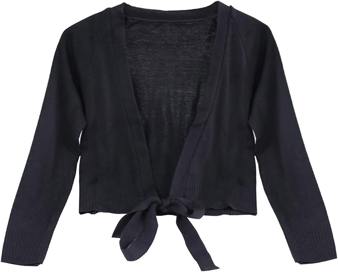 ranrann Kids Girls Long Sleeves Knit Wrap Warm-up Sweaters Ballet Dance Gymnastic Cardigan Outwear
