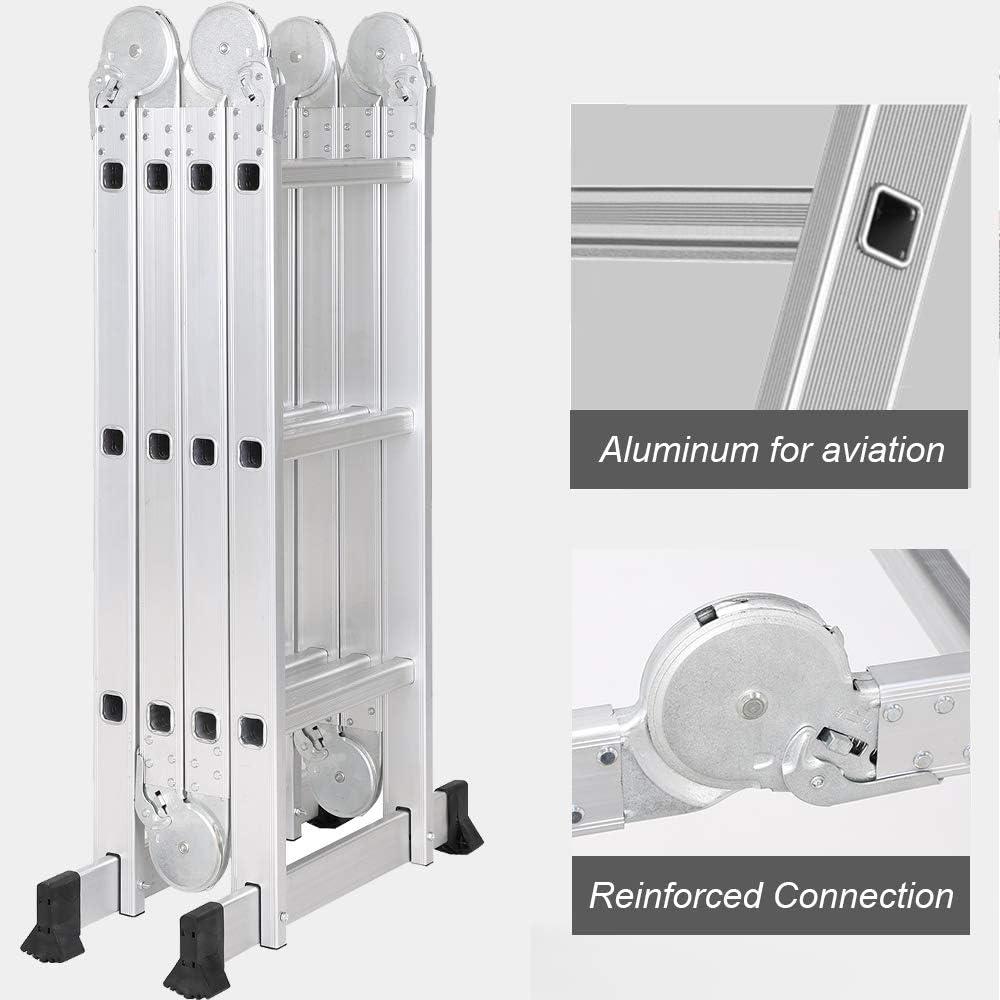 soges 3.7m Multi-Purpose Ladder Folding Ladder Aluminium Ladder Extendible and Versatile KS-JF-403G