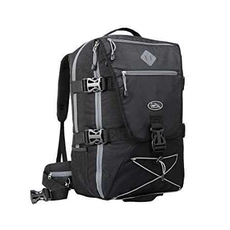 Equator Backpacking Cabin Luggage - Flight Approved cabin bag backpack,  with integrated Rain cover, waist and chest straps. (Black Grey)   Amazon.co.uk  ... 0e3c354390a