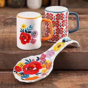 The Pioneer Woman Flea Market Floral Spoon Rest and Salt and Pepper Set