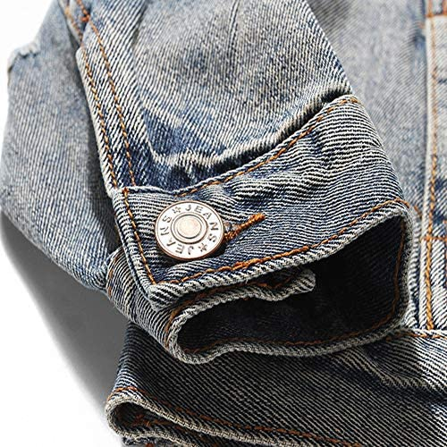 XIELH Cappotti da Uomo con Teschi Denim Giacche Streetwear Hip Hop Casual Patchwork Strappato Punk Rock Jeans Cappotti Capispalla, Blu, XL