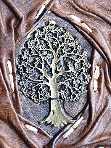 """Genuine Leather Writing Journal Sketch Book (Tree of Life) with 160 Cream Colored Pages and Brass C-Clasp (5.5"""" x 7.8"""") by Rustic Diary (Image #4)"""