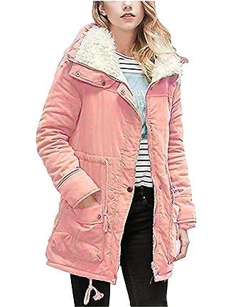 Ghope Damen Winterjacke Winter-Mantel Baumwollparka Dick Warm Fleece-Futter  Steppmantel 2632be3541