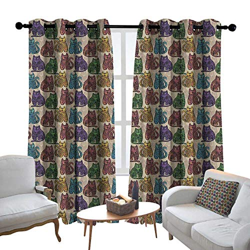Lewis Coleridge Bedroom Curtain Tattoo,Colorful Vintage Artistic Cat Animal with Mandala Inspired Floral Ethnic Motifs,Multicolor,Insulating Room Darkening Blackout Drapes 84