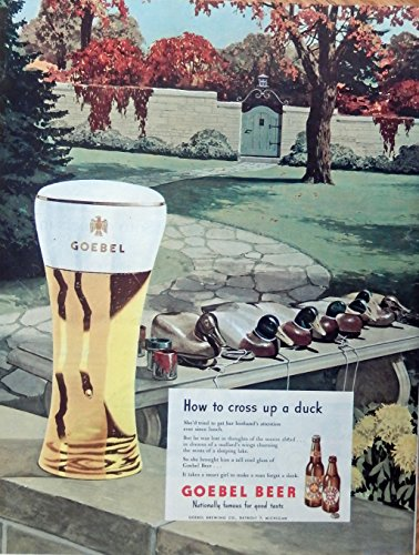 Goebel Beer, print ad. Color Illustration (Duck Decoys) original 1947 Magazine (Decoy Magazine)