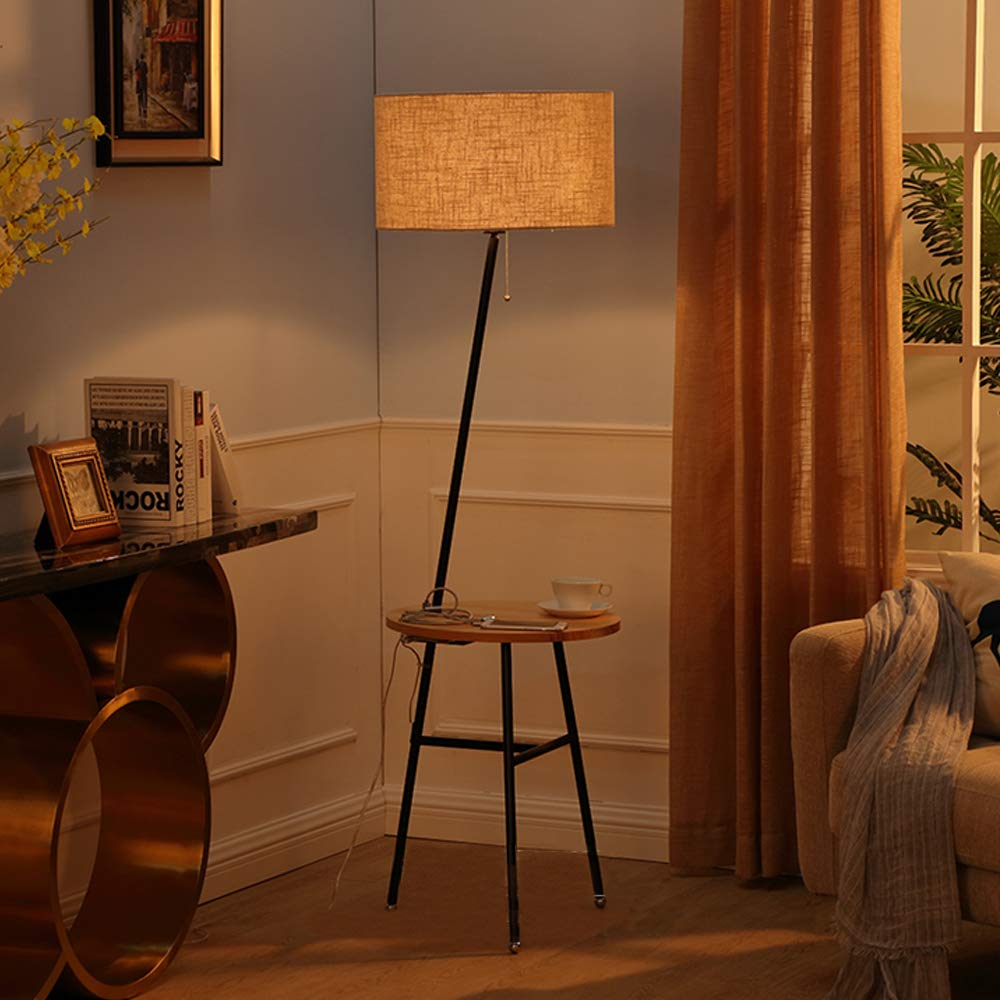 Wellmet Modern Tripod Floor Lamp with Wooden Shelves, Wood Floor Light with Table and USB Ports,Bedside Table for Bedroom- End Table for Living Room Sofa- Reading Light for Relax (Black)