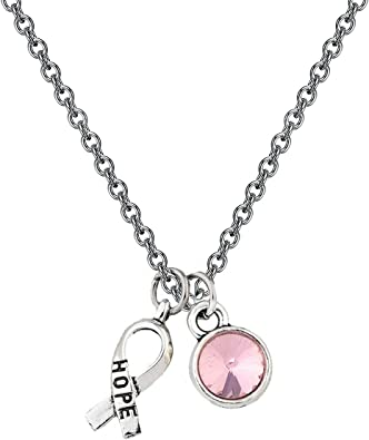 Made in USA Choose Necklace Length BREAST CANCER Awareness Necklace w Pink Crystal /& Sterling Silver Ribbon Pendant