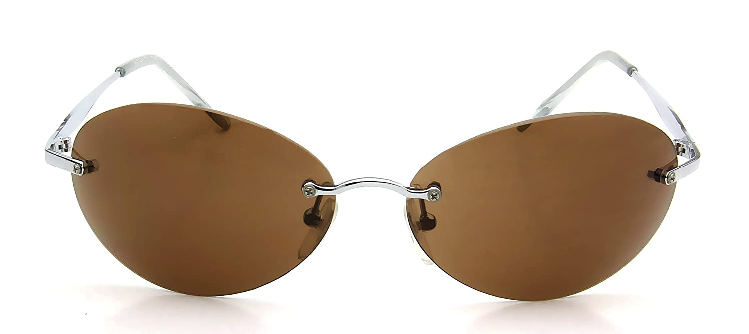 f55f85b0f36 Amazon.com  Womens Rimless Oval Sunglasses Brown Lens Silver Polished Metal  Temples w  Clear Tip  Clothing