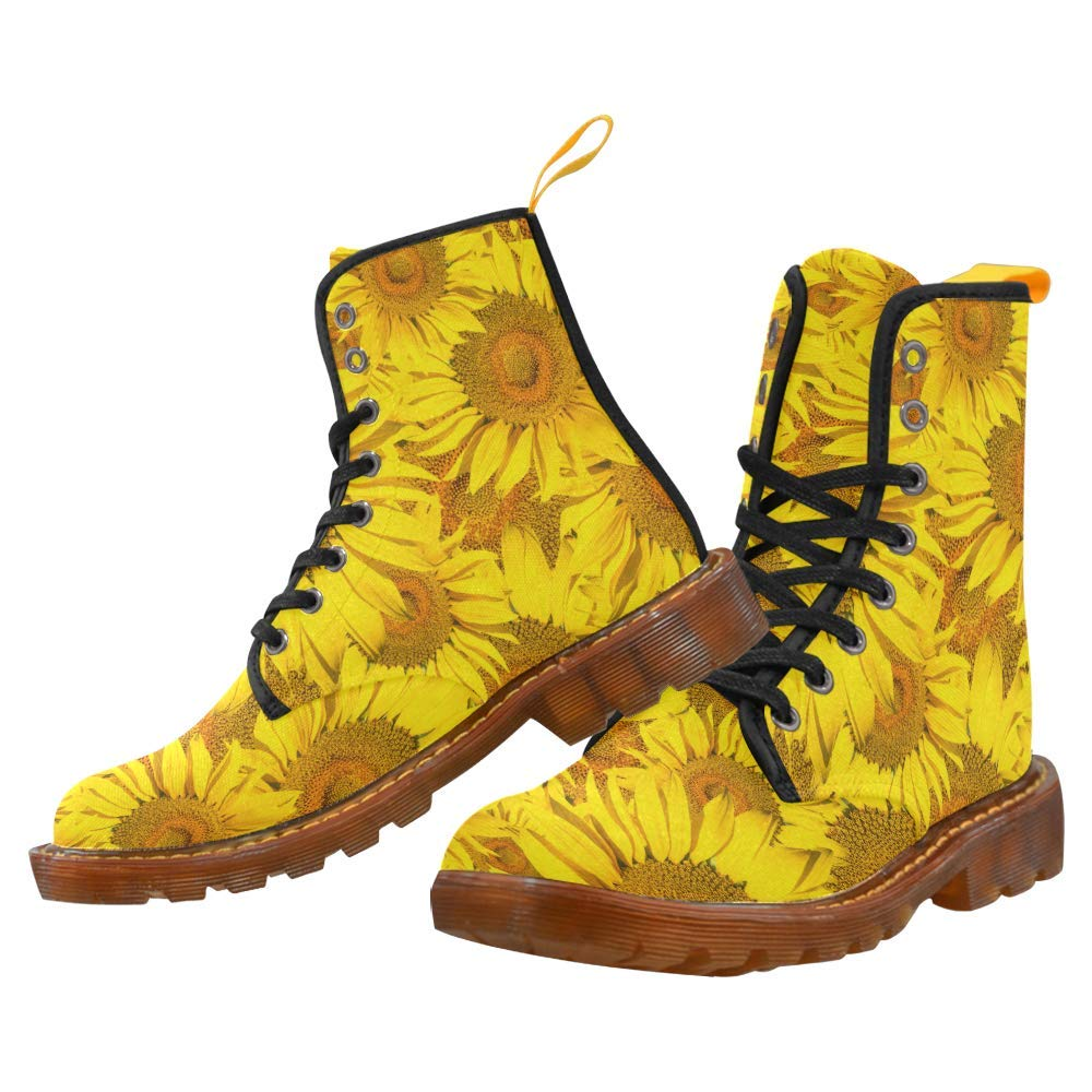 21c50094a07 Amazon.com | Women's Lace Up Boots Yellow Sunflower Canvas Martin ...